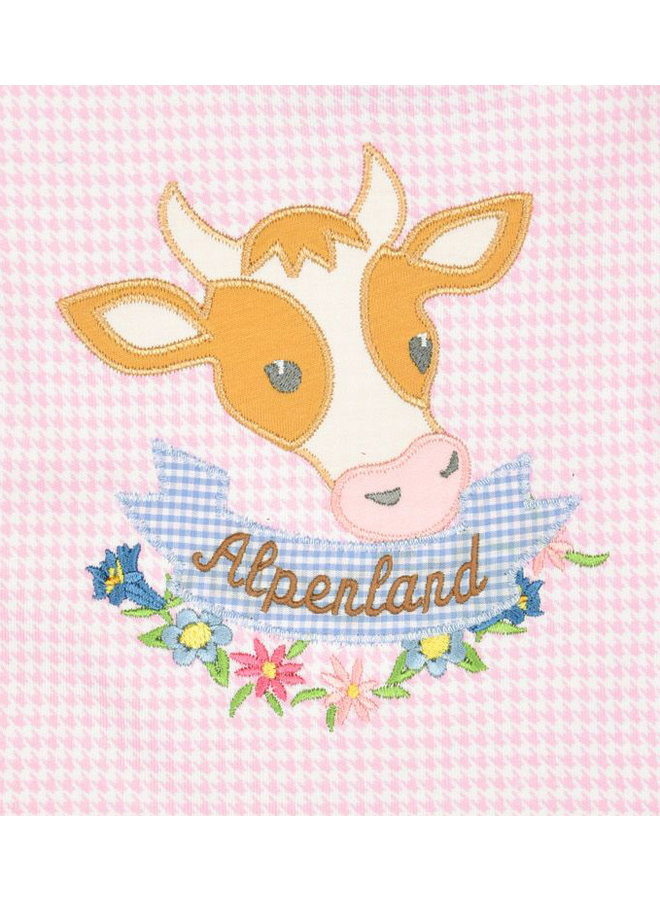 P. Eisenherz Baby T-Shirt rosa  weiß Kuh Vichy Karo