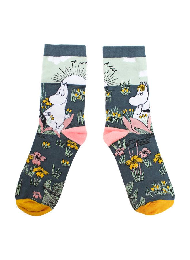 House of Disaster Socken Mumin Lotusblumen mit schönem Print