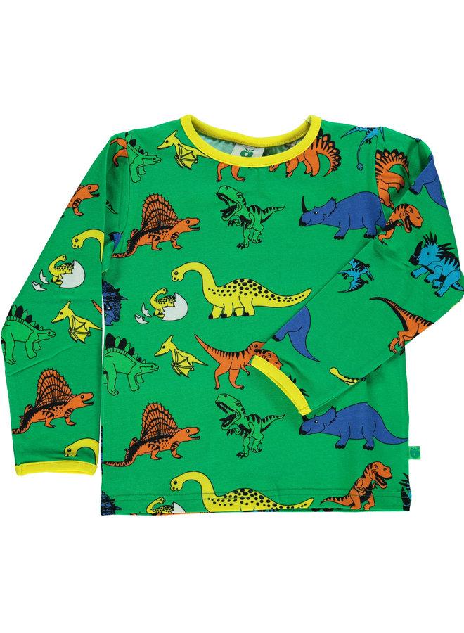 SMAFOLK Langarmshirt allover Dino grün
