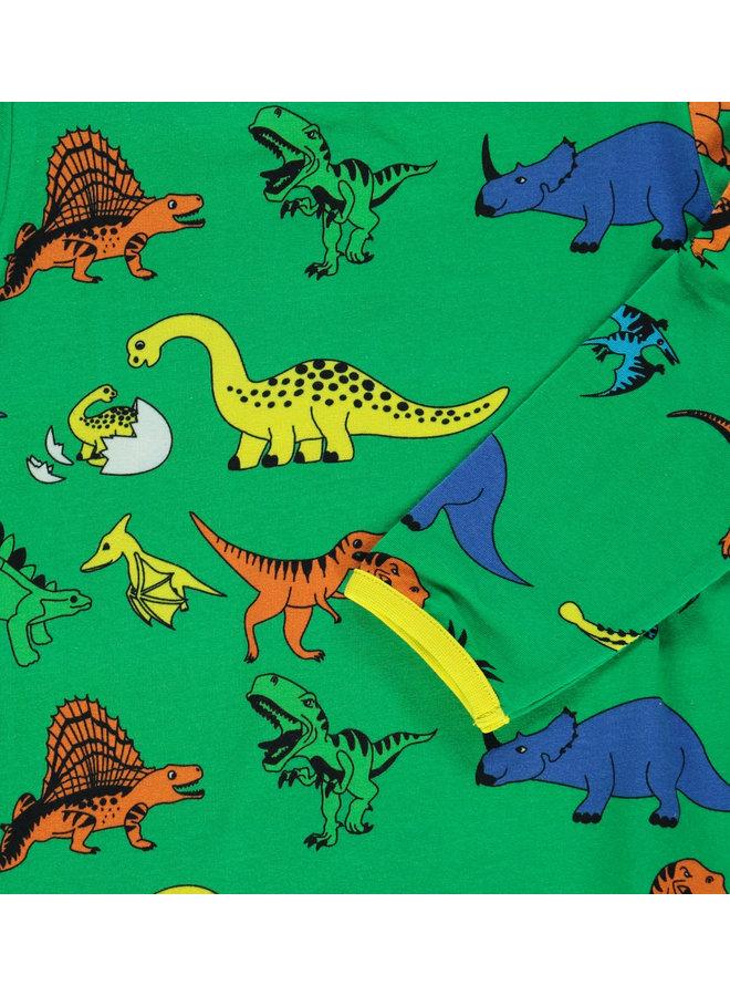 SMAFOLK Langarmshirt  mit  allover Dino grün