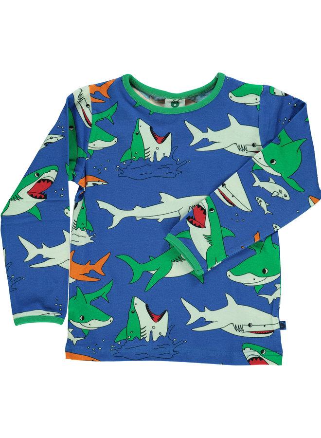 SMAFOLK Langarmshirt allover Hai blau