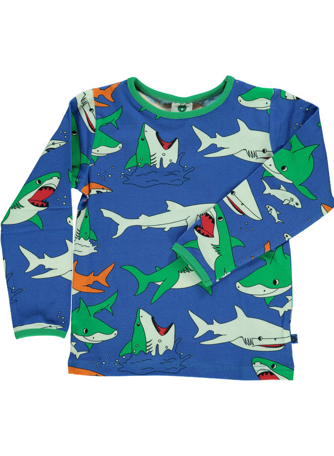 SMAFOLK Langarmshirt  mit  allover Hai blau