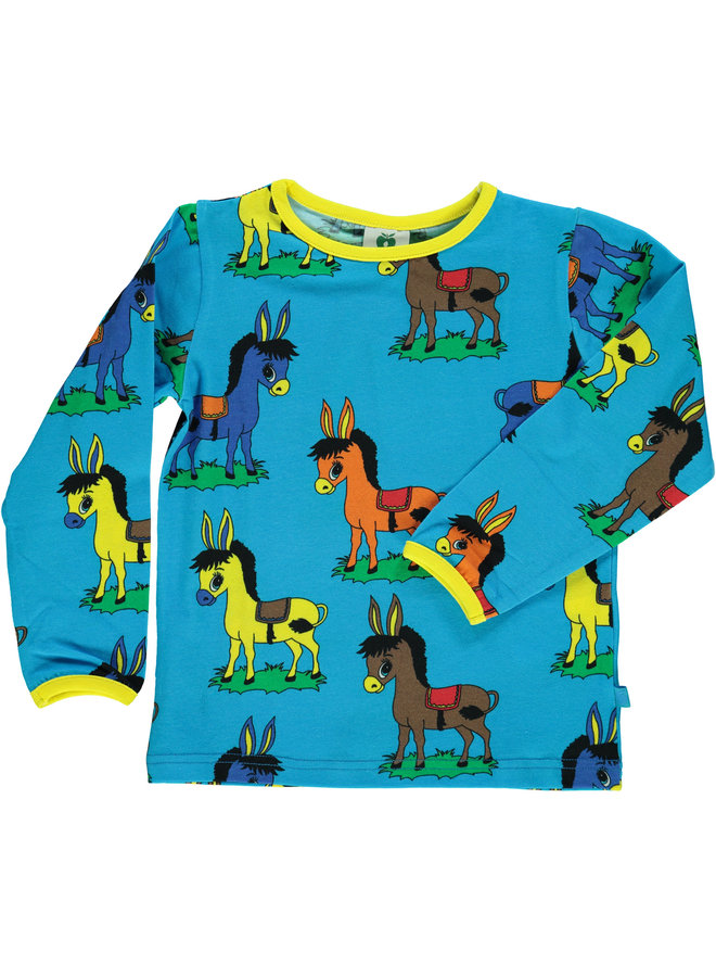 SMAFOLK Langarmshirt  mit  allover Esel blau