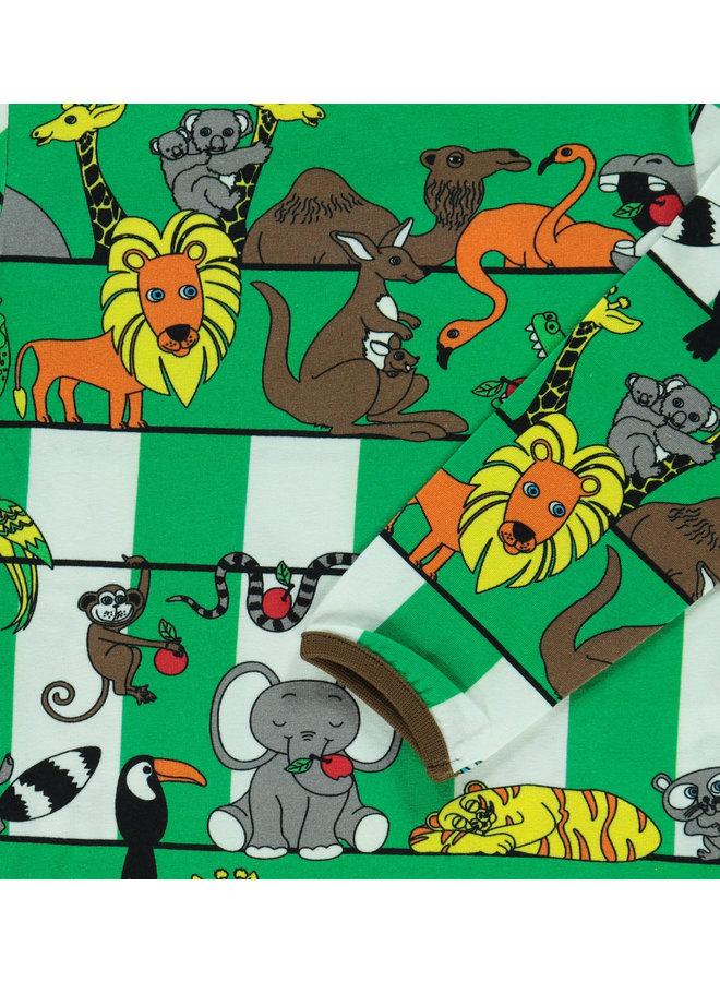 SMAFOLK Langarmshirt Jungle / Dschungeltiere grün