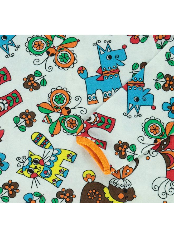 SMAFOLK Langarmshirt  mit  allover Tiere und Blumen
