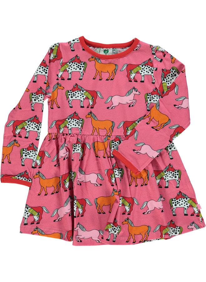 SMAFOLK Kleid pink mit Pferde allover Print aus Biobaumwolle