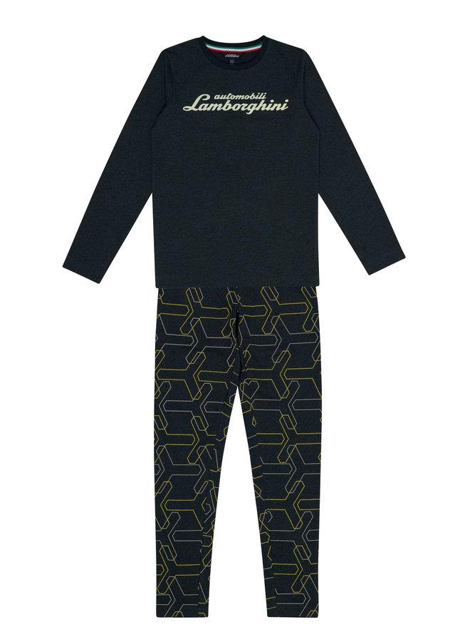 Automobili Lamborghini Pyjama mit Logodetails dunkelgrau