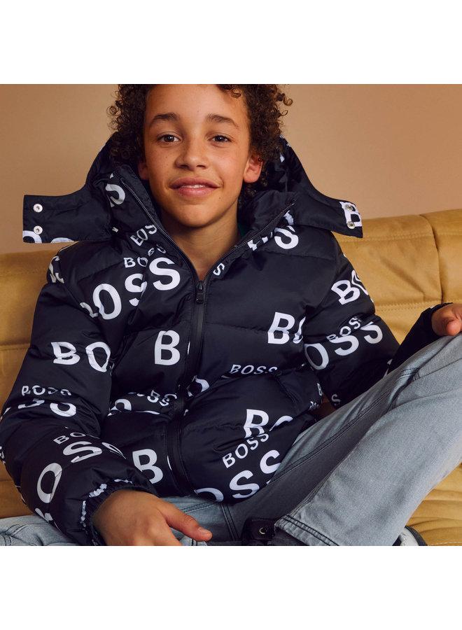 HUGO BOSS Kids Daunenjacke / Pufferjacket allover Logo schwarz