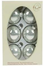 Cosy & Trendy Kerstbal set 6 pearl zilverwit 7cm Glas