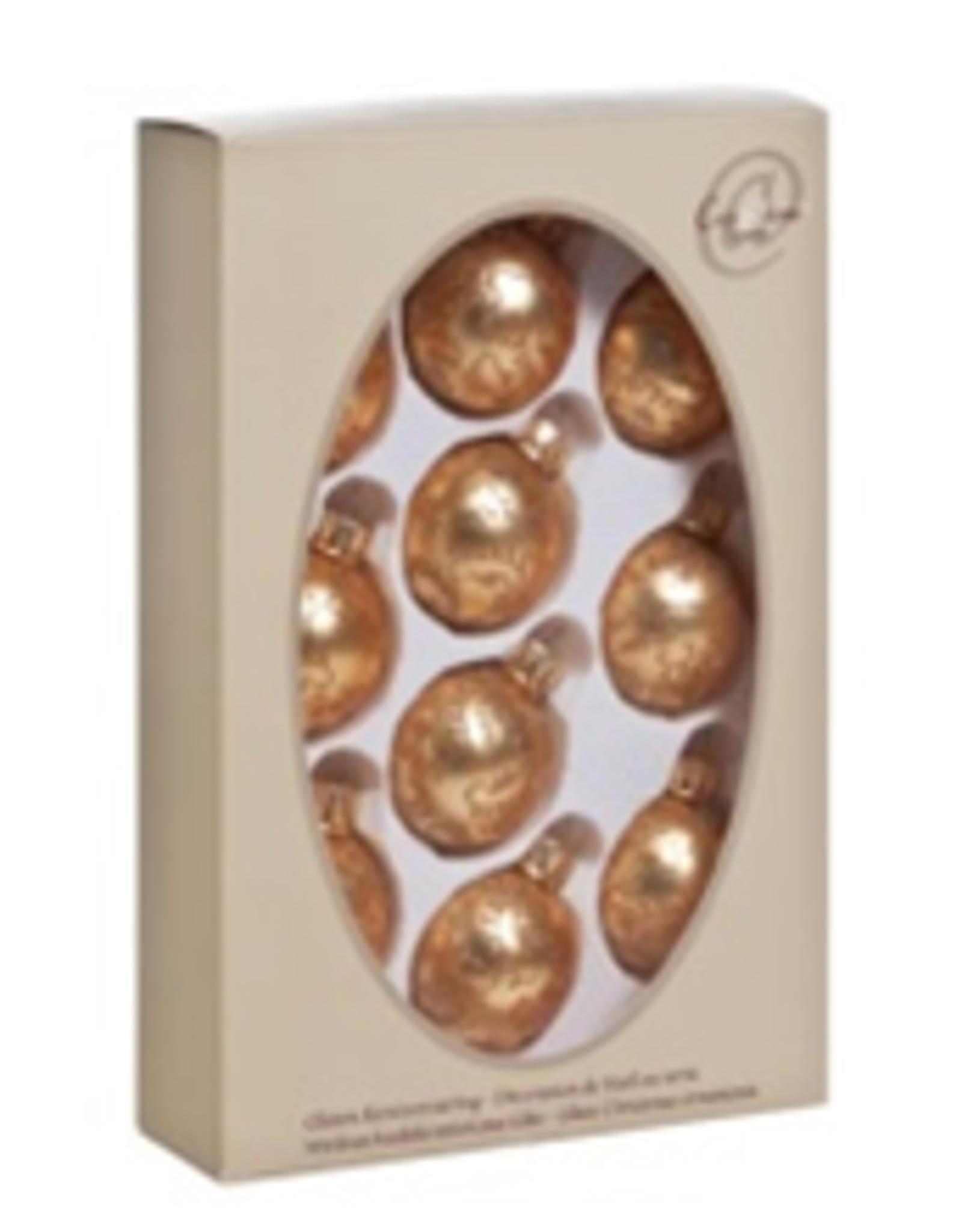 Cosy & Trendy Kerstbal Glas deco set 10 goudkleurig met glitter 4.5 cm