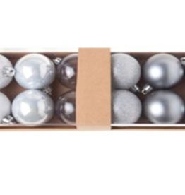 Cosy & Trendy Kerstbal set van 12 zilver rond in pvc