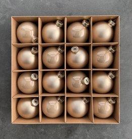 EDG Elegante glazen kerstballen set van 16 stuks champagne kleur