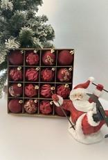 EDG Assortiment bordeaux/rode onbreekbare kerstballen
