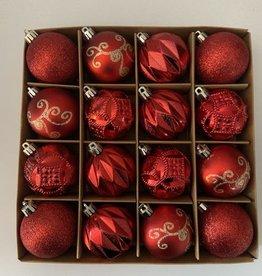 EDG Assortiment rode onbreekbare kerstballen 6cm