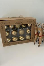 EDG Box met 26 goudkleurige glazen kerstballen