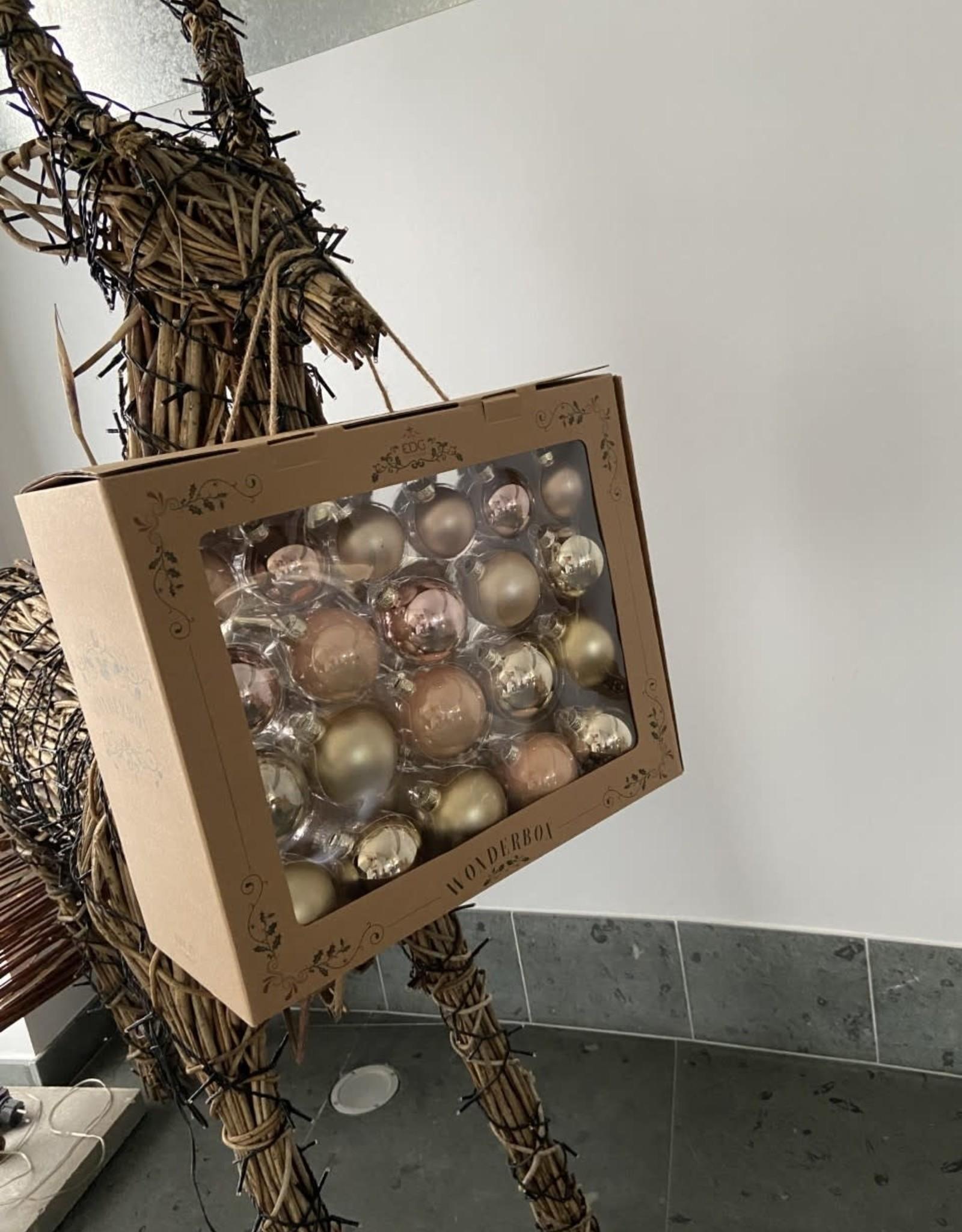 EDG Box met 42 glazen kerstballen