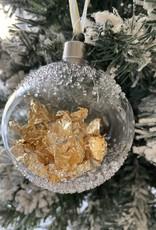 EDG Glazen Ronde doorzichtige kerstbal met bladgoud D8cm