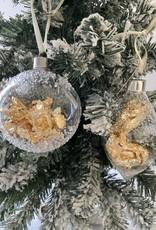 EDG Glazen ovale doorzichtige kerstbal met bladgoud D8cm