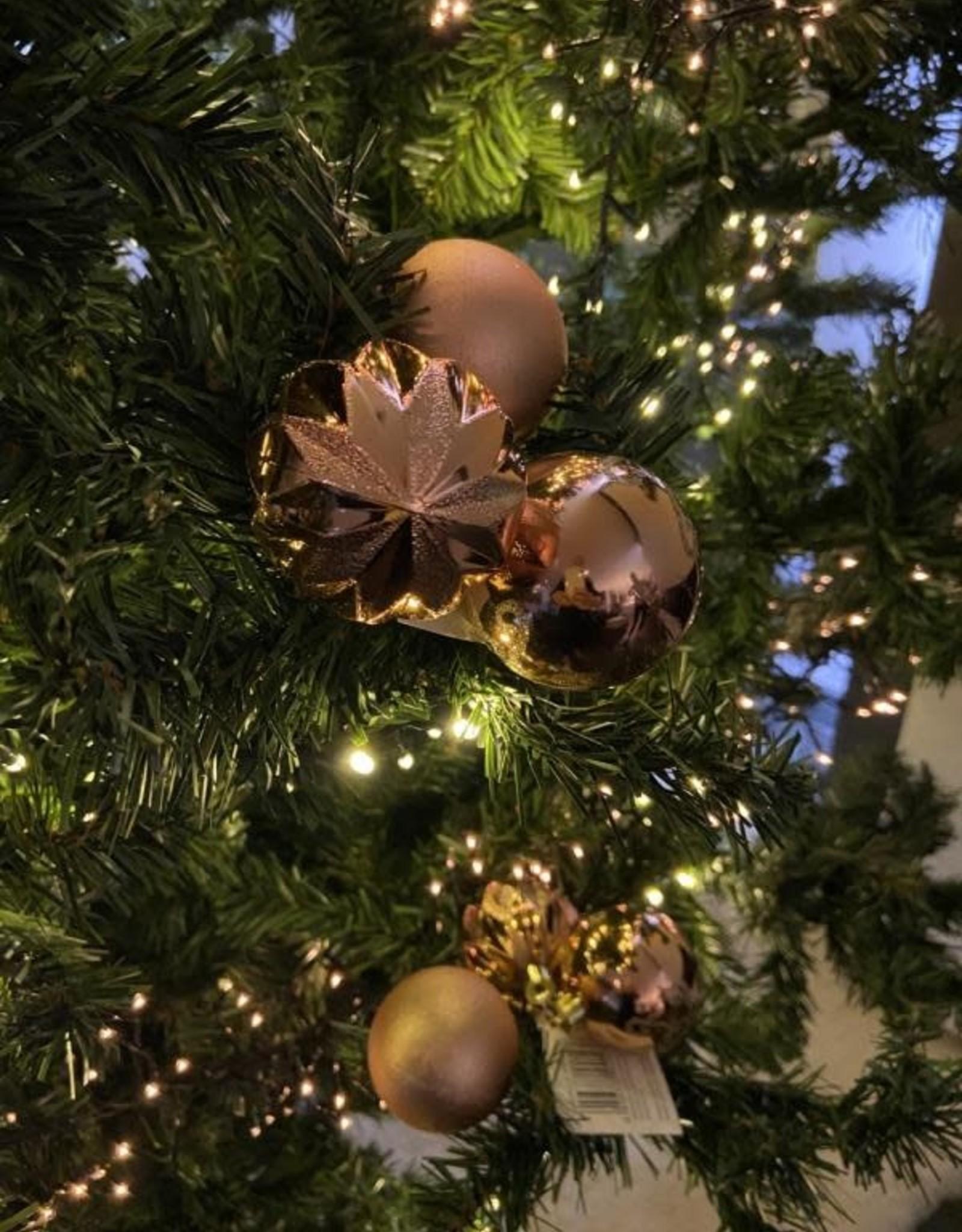 EDG Trio van zalmroze kerstbollen met motief