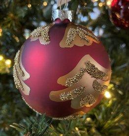 EDG Glazen rode bal met gouden glitter 8 cm