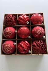 EDG Box met 9 onbreekbare ballen rood/bordeaux tinten