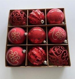 EDG Box met 9 onbreekbare ballen rood/bordeaux tinten 8cm