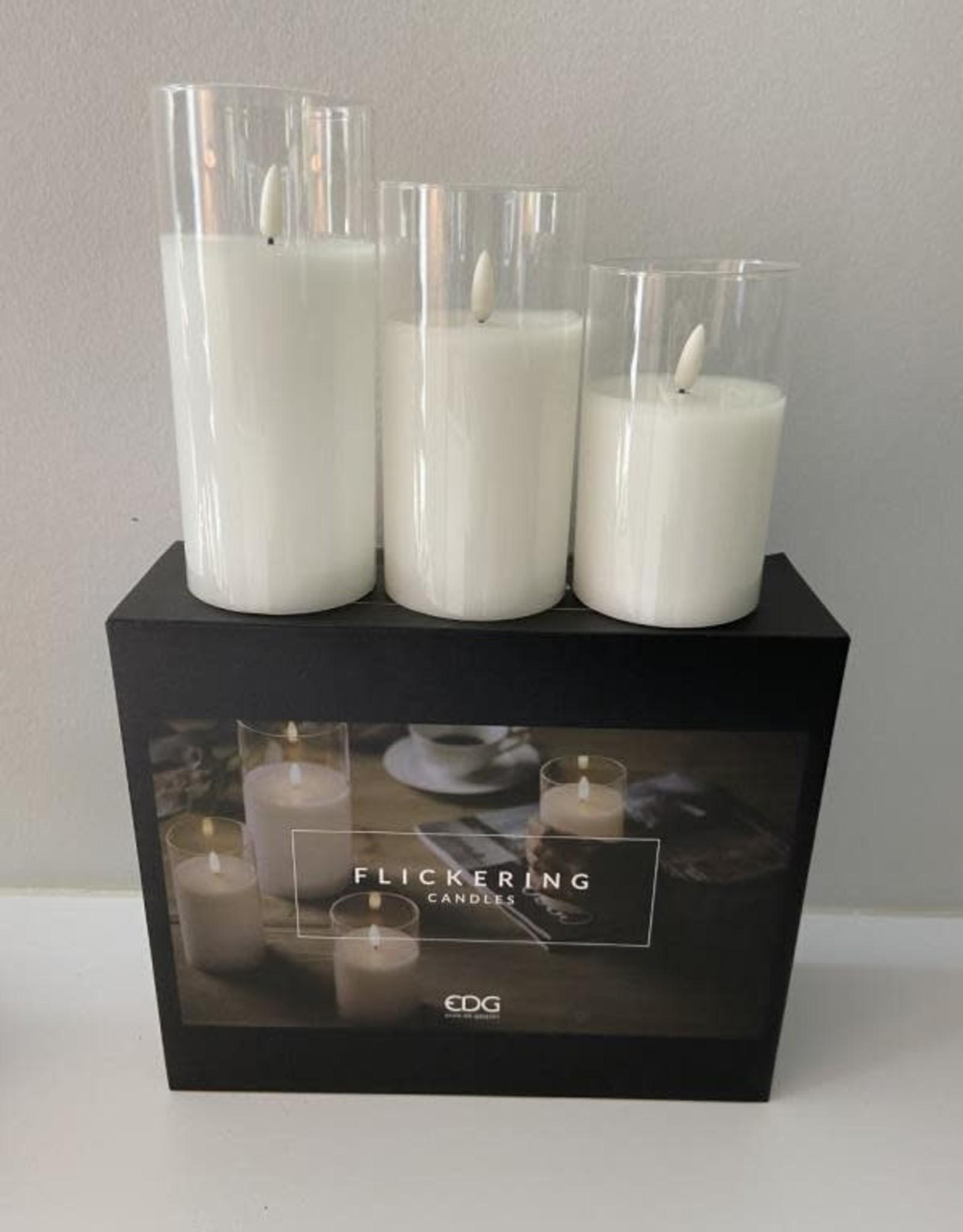 EDG Box met 3 glazen Ledkaarsen batt niet inbegrepen