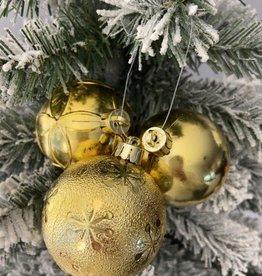 EDG set van 3 gouden kerstballen met elegant motief