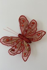 Niet specifiek Vlinder van 12,5cm glitter op clip Rood
