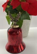 Niet specifiek kerstbal glas antiek-look klok rood 15 cm