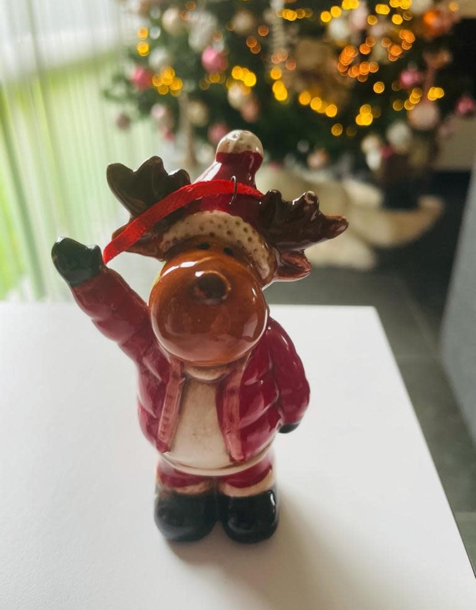 Niet specifiek Kersthanger zwaaiend  Rendier 9cm
