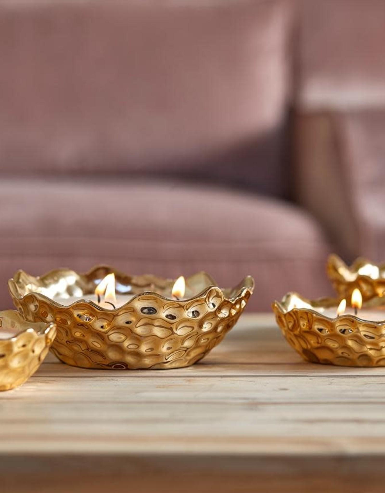 EDG Kaars in gouden schaal 3 wieken H5 D15 B8 GOLD