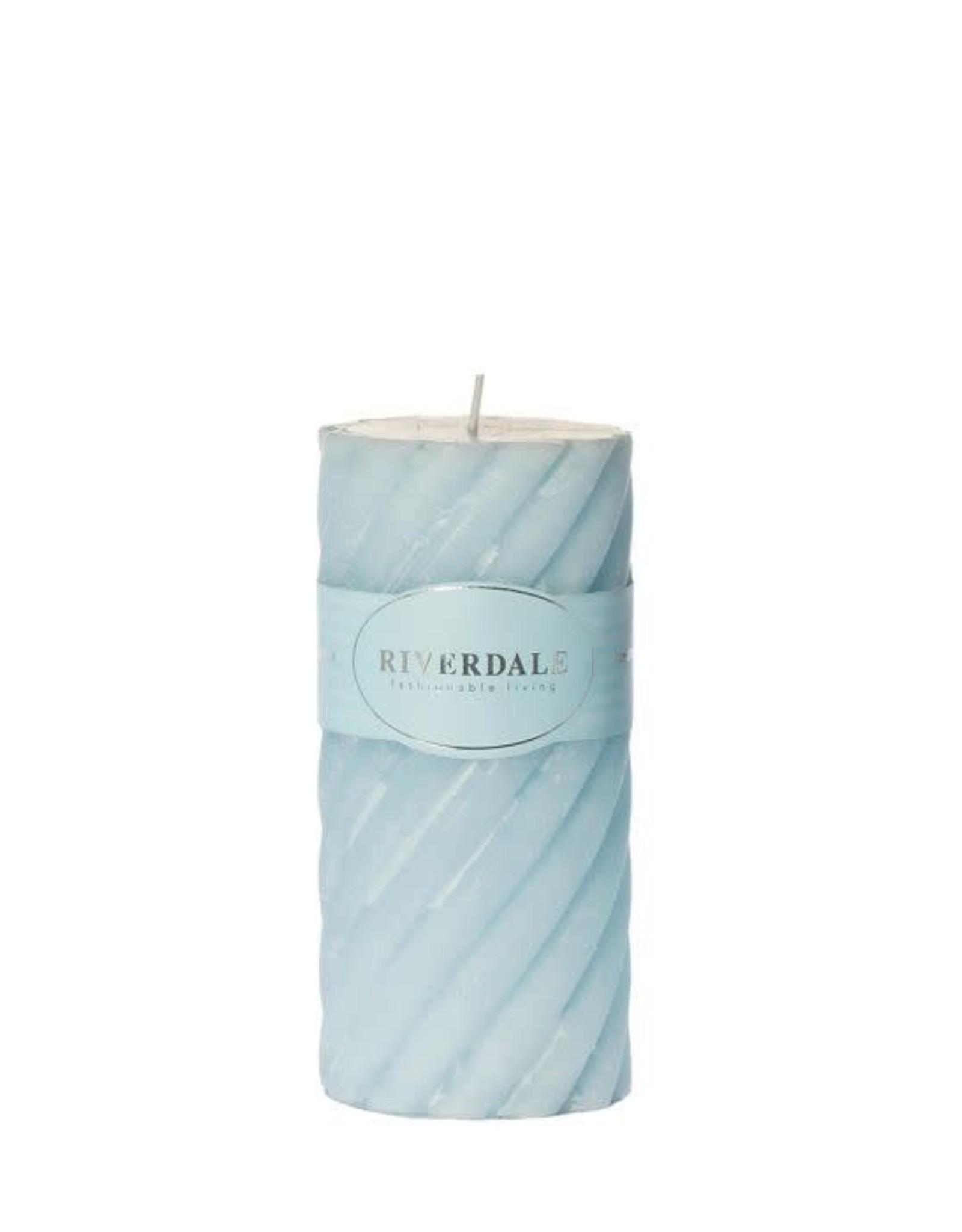 Riverdale Candle Swirl light blue 7.5x15cm