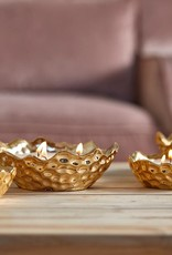 EDG Kaars in gouden schaal 3 wieken  H4 D12 B8 GOLD