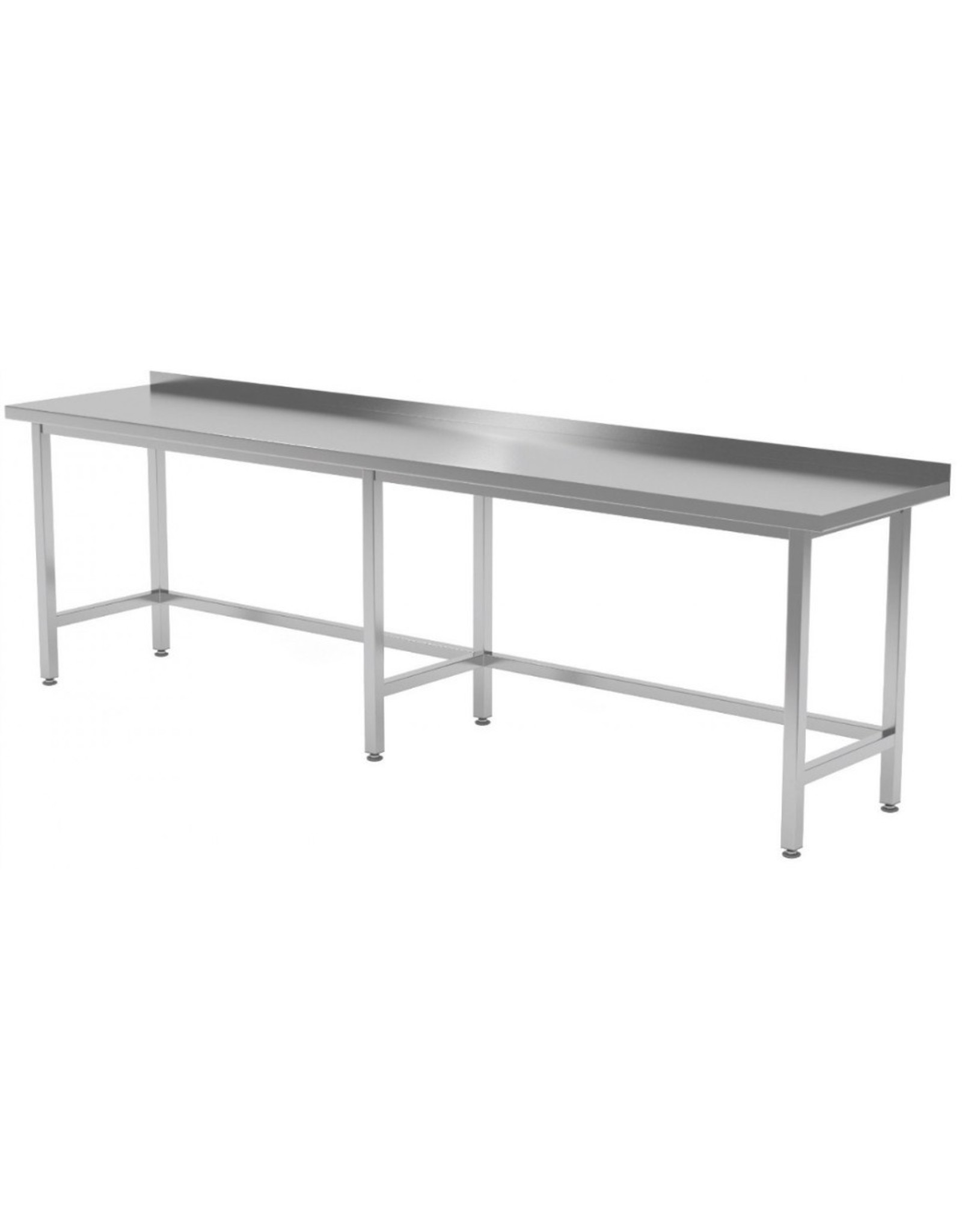 Werktafel met open onderkant verstevigd | 2000-2800mm breed | 600 of 700mm diep