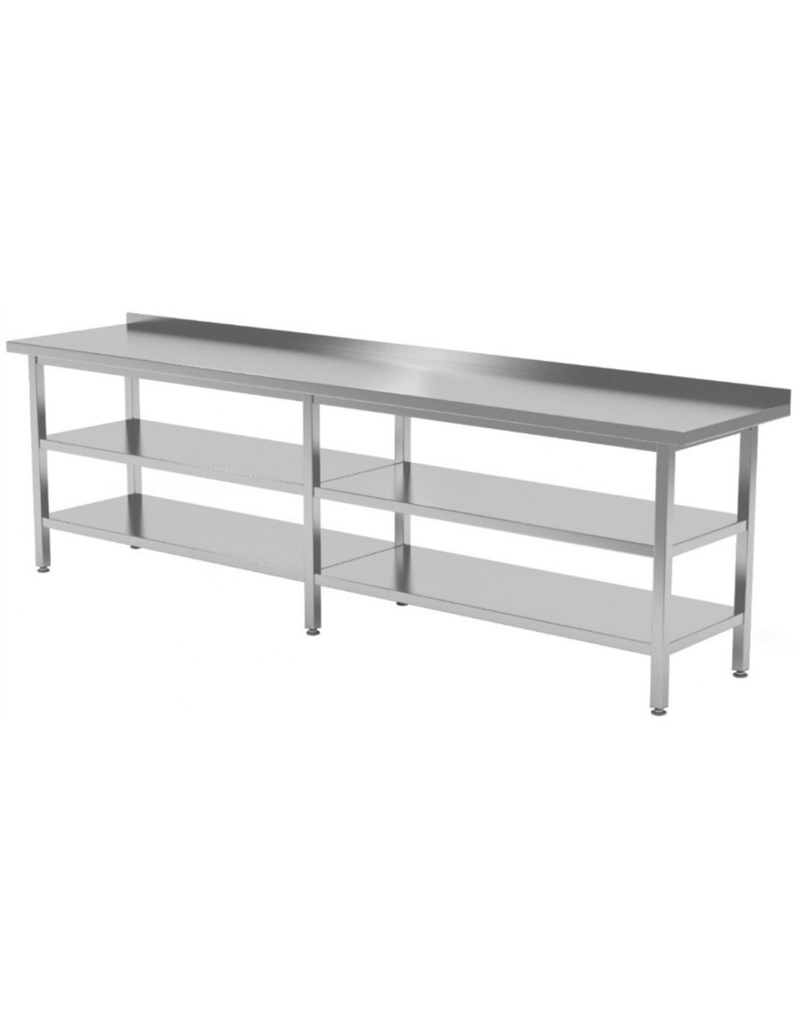 Werktafel met dubbele onderplank   2000-2800mm breed   600 of 700mm diep
