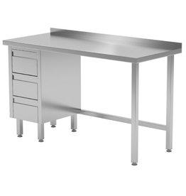 Werktafel met 3 lades links | 800-1900mm breed | 600 of 700mm diep