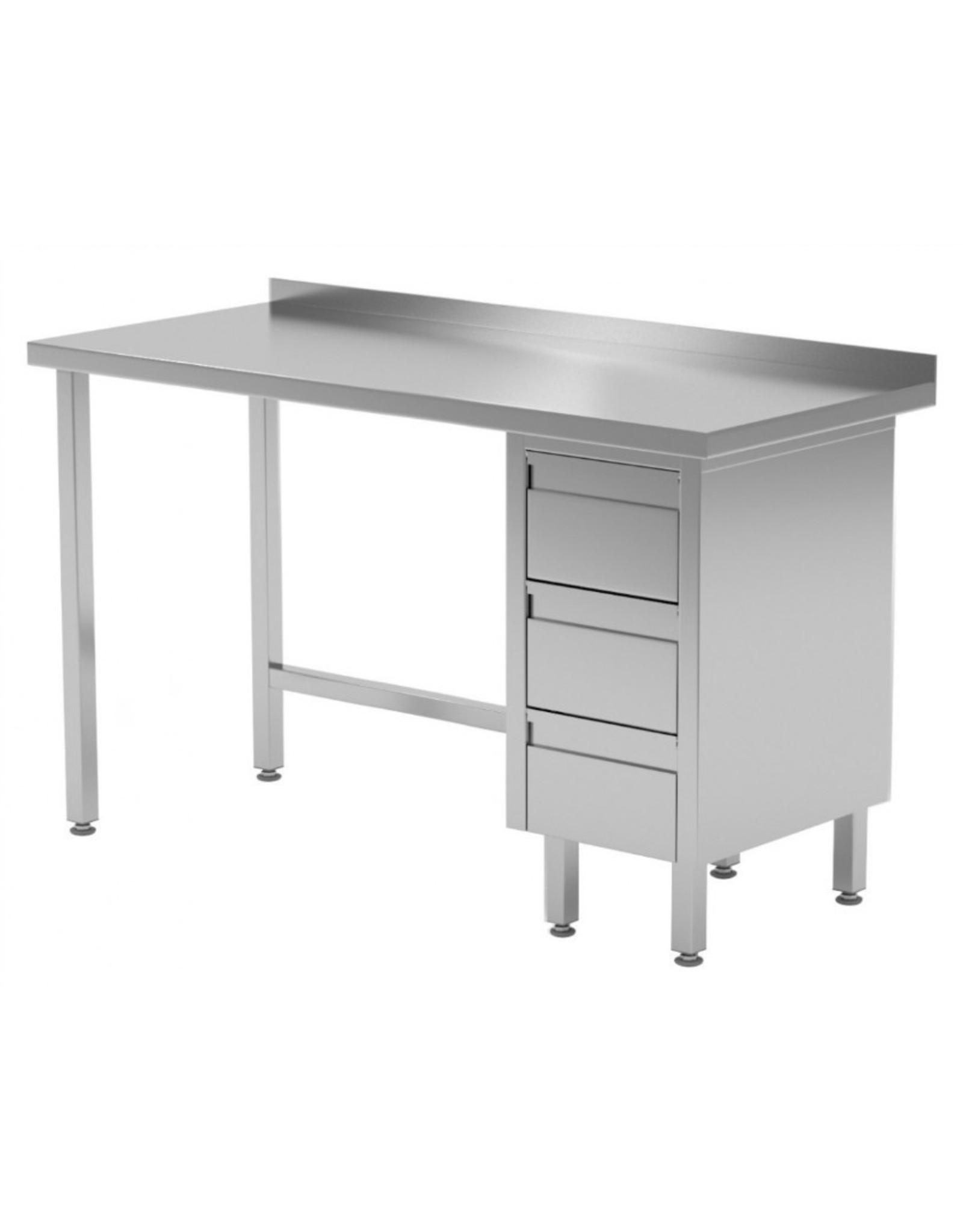 Werktafel met 3 lades rechts | 800-1900mm breed | 600 of 700mm diep