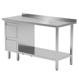 Werktafel met 2 lades links en onderplank | 800-1900mm breed | 600 of 700mm diep