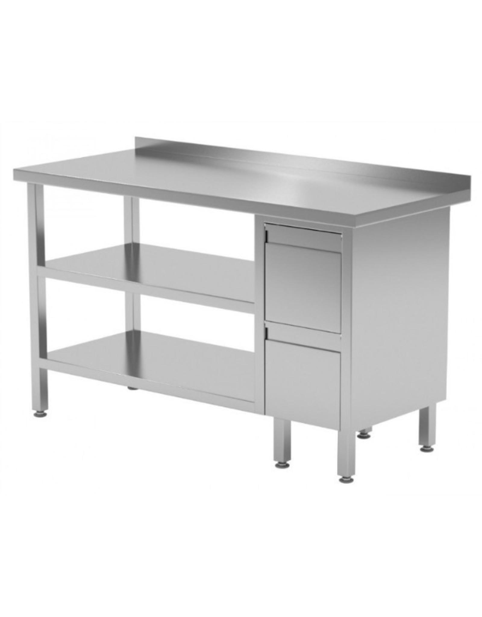 Werktafel met 2 lades rechts en dubbele onderplank | 800-1900mm breed | 600 of 700mm diep