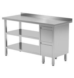 Werktafel met 2 lades rechts en dubbele onderplank   800-1900mm breed   600 of 700mm diep