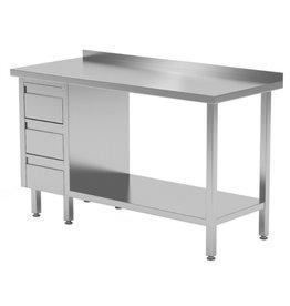 Werktafel met 3 lades links en onderplank | 800-1900mm breed | 600 of 700mm diep