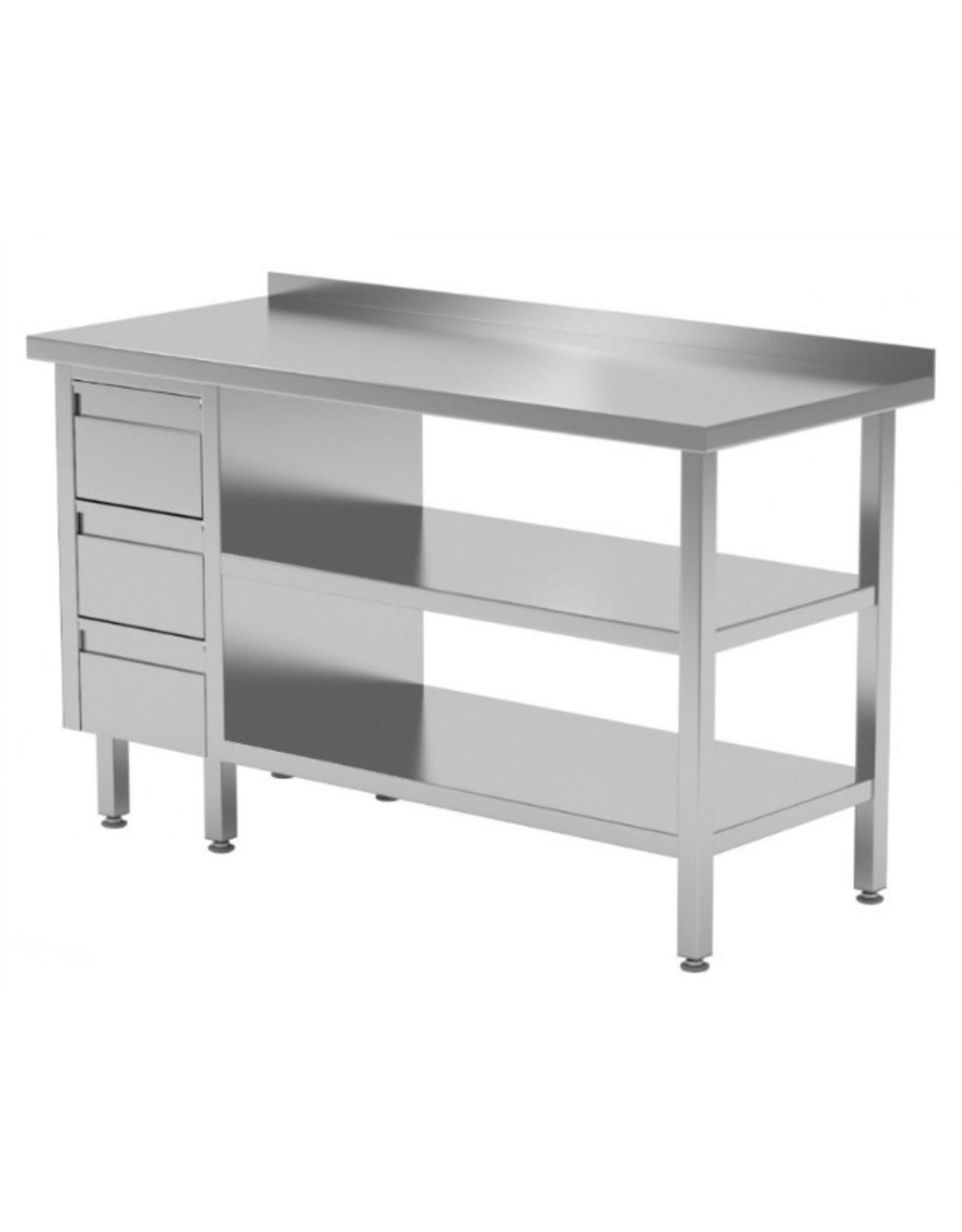 Werktafel met 3 lades links en dubbele onderplank | 800-1900mm breed | 600 of 700mm diep