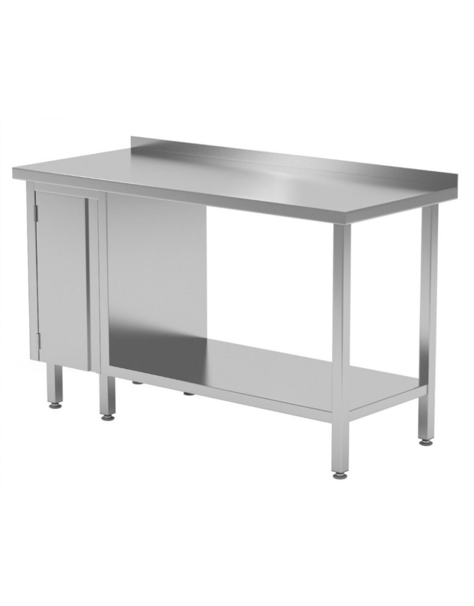 Werktafel met kastje links en onderplank | 800-1900mm breed | 600 of 700mm diep