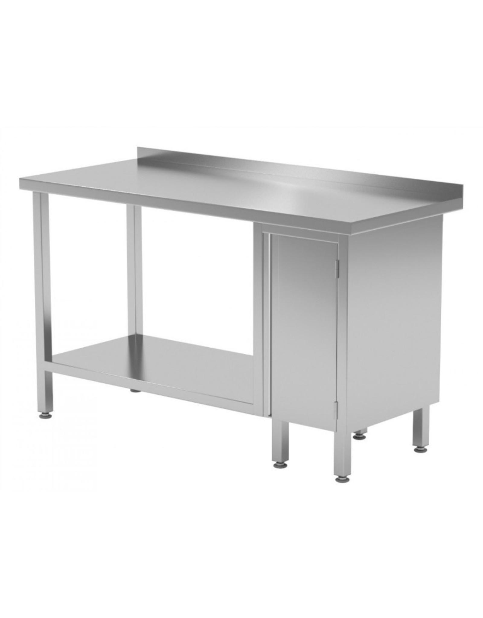 Werktafel met kastje rechts en onderplank | 800-1900mm breed | 600 of 700mm diep