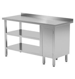 Werktafel met kastje rechts en dubbele onderplank | 800-1900mm breed | 600 of 700mm diep