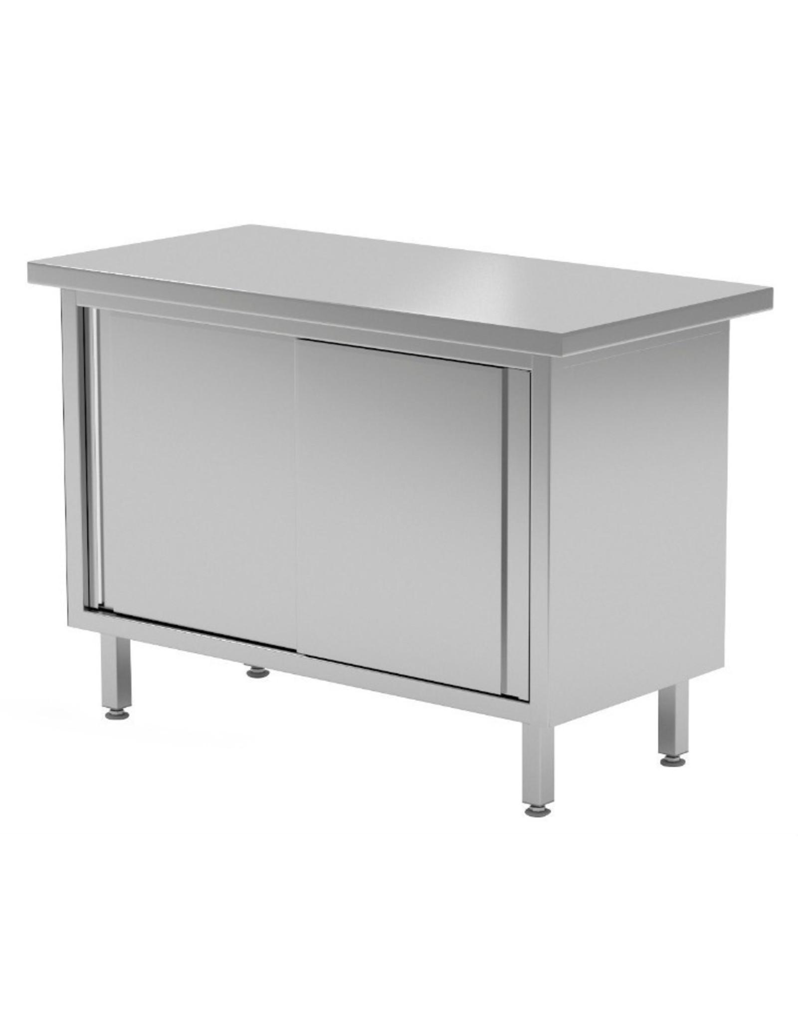 Centrale werktafel met schuifdeuren aan 2 zijdes | 800-1900mm breed | 600 of 700mm diep