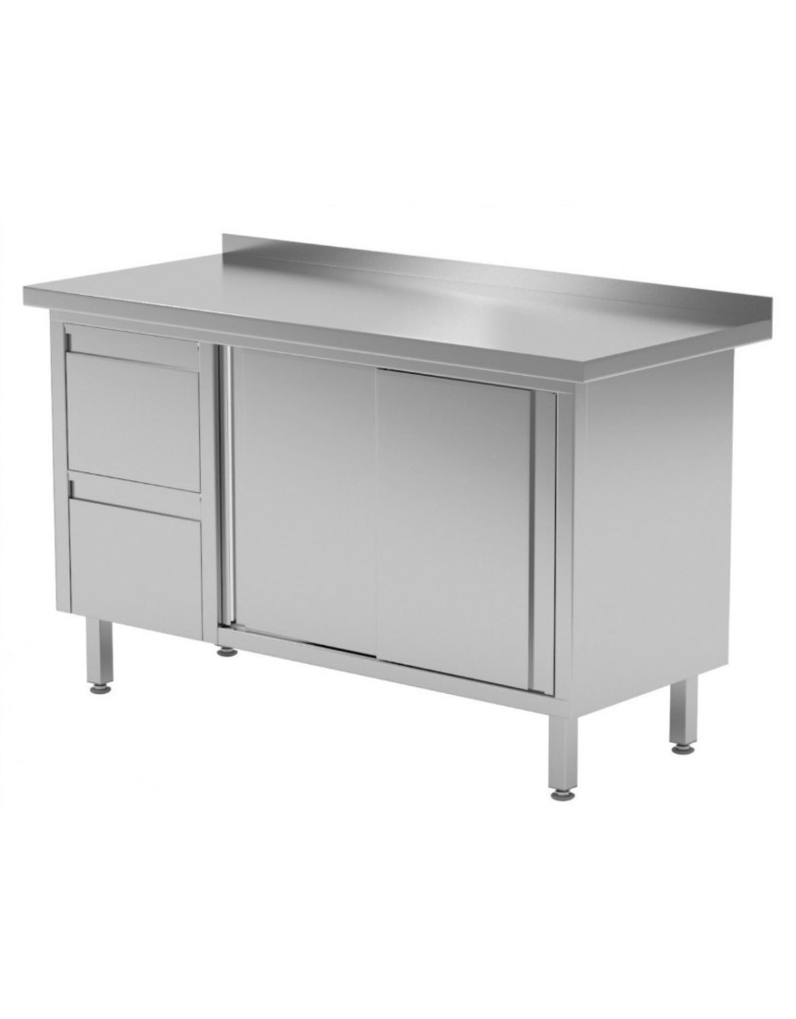 Werktafel met 2 lades links en schuifdeuren | 1200-1900mm breed | 600 of 700mm diep