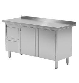 Werktafel met 2 lades links en klapdeuren | 1100-1900mm breed | 600 of 700mm diep