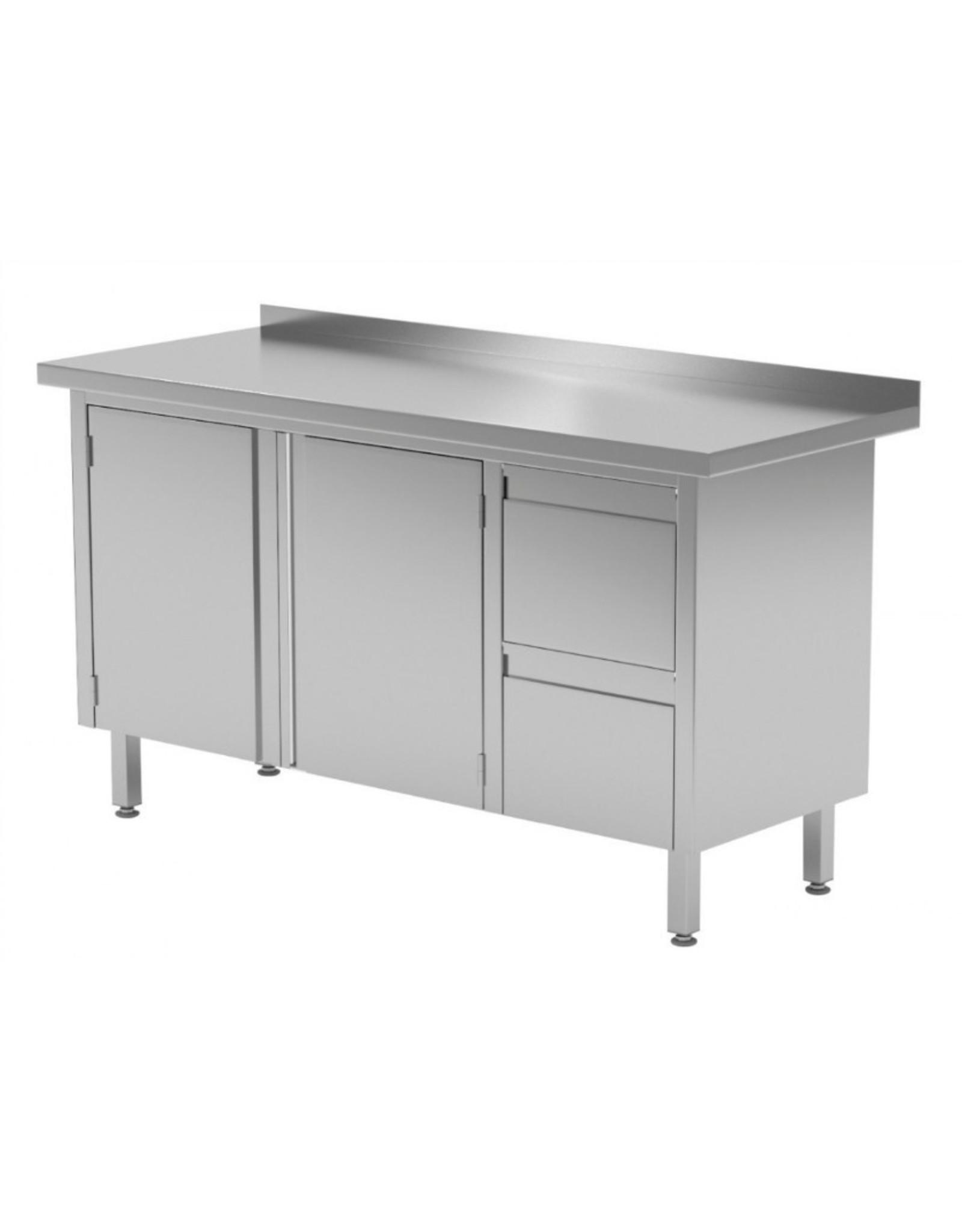 Werktafel met 2 lades rechts en klapdeuren | 1100-1900mm breed | 600 of 700mm diep